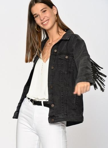 Loves You Püskül Taşlı Jean Ceket Füme